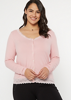 Plus Pink Button Down Lace Trim Top