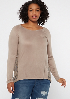 Plus Taupe Lace Back High Low Tunic