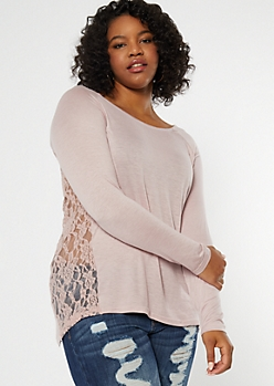 Plus Pink Lace Back High Low Tunic