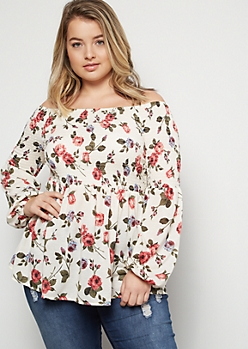 Plus Ivory Floral Print Super Soft Off The Shoulder Smocked Top
