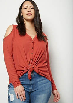 Plus Burnt Orange Ribbed Knit Cold Shoulder Shirt