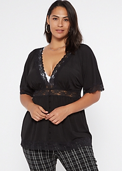 Plus Black Lace Trim Button Down Blouse