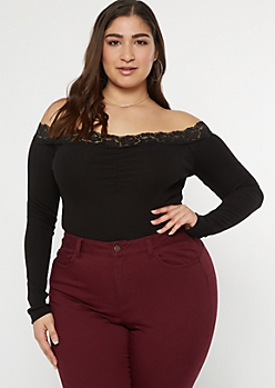 Plus Black Lace Off The Shoulder Top