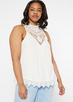Plus Ivory Crochet Mock Neck Tank Top