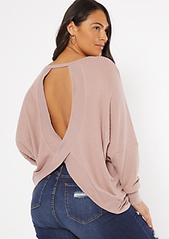 Plus Mauve Open Back Sweater
