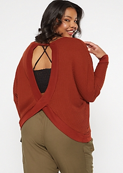 Plus Burnt Orange Open Back Slouchy Waffle Top