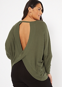 Plus Olive Open Back Sweater