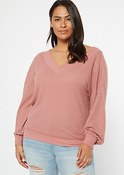 Plus Pink Dual V Neck Slouchy Waffle Top