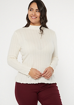 Plus Ivory Pointelle Top