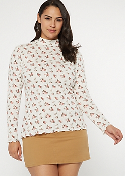 Plus Ivory Floral Print Pointelle Top