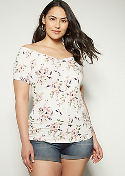 Plus White Floral Print Wide Neck Button Down Tee