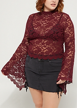 Plus Burgundy Lace Bell Sleeve Top