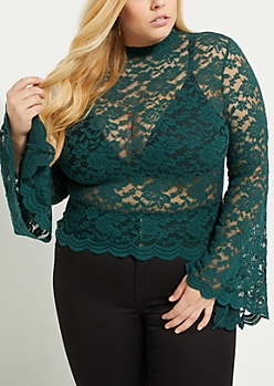 Plus Teal Lace Bell Sleeve Top