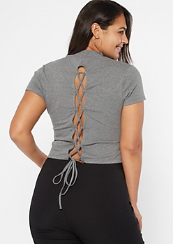 Plus Gray Ribbed Knit Lace Up Back Tee
