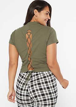 Plus Olive Ribbed Knit Lace Up Back Tee