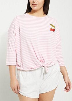 Plus Pink Stripe Embroidered Tie Front Tee