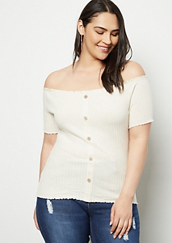 Plus Heathered Oatmeal Off The Shoulder Button Front Ribbed Top