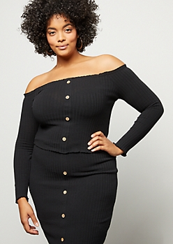 Plus Black Ribbed Knit Button Down Crop Top