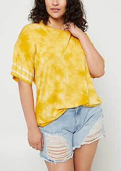Plus Dark Yellow Tie Dye Oversize Tee