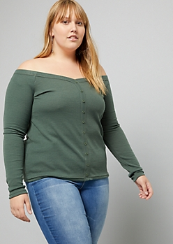 Plus Olive Ribbed Knit Off The Shoulder Top