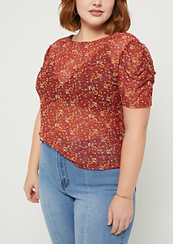 Plus Floral Ruched Sleeve Mesh Tee