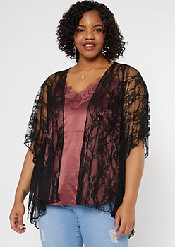 Plus Black High Low Lace Kimono