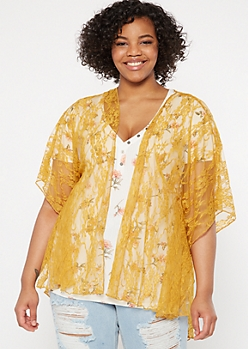 Plus Mustard High Low Lace Kimono