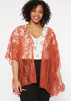 Plus Burnt Orange Side Slit Lace Kimono