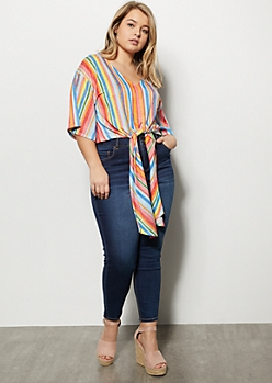 Plus Rainbow Striped Tie Front Dolman Top