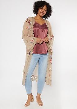Plus Beige Floral Print Crochet Duster Kimono