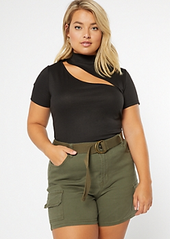 Plus Black Ribbed Knit Mock Neck Cutout Crop Top