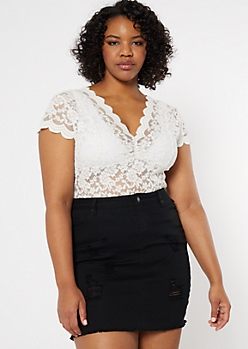 Plus Ivory Scallop Lace Top