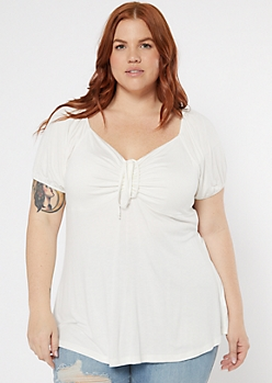 Plus White Tie Front Peasant Top
