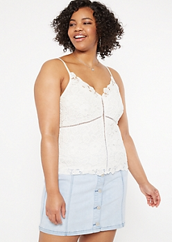 Plus Ivory Crochet Bodice Tank Top