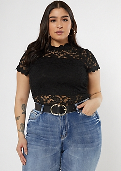 Plus Black Lace Mock Neck Top