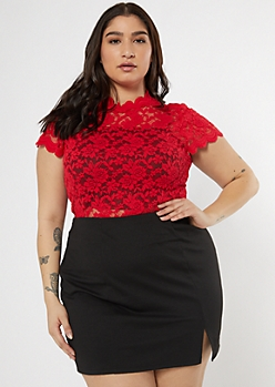 Plus Red Lace Mock Neck Top