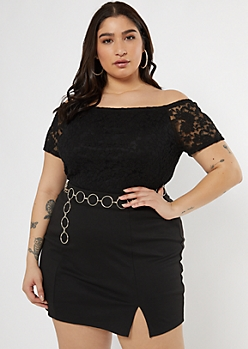 Plus Black Off The Shoulder Lace Top