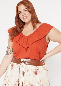 Plus Burnt Orange V Neck Crochet Flounce Top
