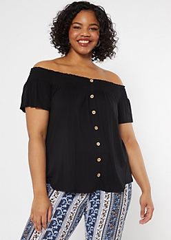 Plus Black Smocked Off The Shoulder Top