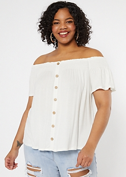 Plus Ivory Smocked Off The Shoulder Top