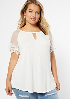 Plus Ivory Mesh Lace Sleeve Top