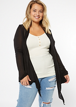 Plus Black Pocket Draped Kimono