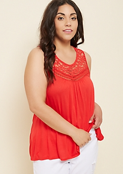 Plus Red Floral Print Lace Crocheted Tank Top