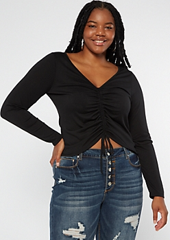 Plus Black Ruched Front Long Sleeve Top