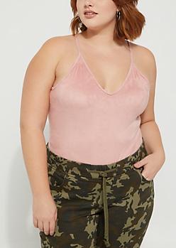 Plus Pink Velvet V Neck Bodysuit