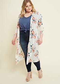 Plus Ivory Floral Print Mesh Kimono