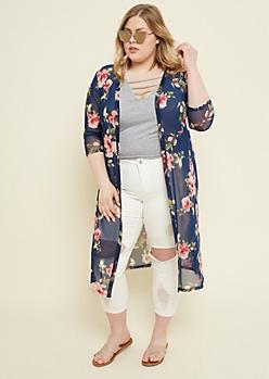 Plus Navy Floral Print Mesh Kimono