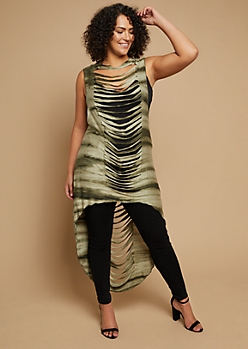 Plus Olive Tie Dye Slashed High Low Tunic