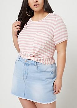 Plus Light Pink Striped Twist Front Tee