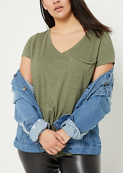 Plus Dark Olive Oversized Pocket Tee
